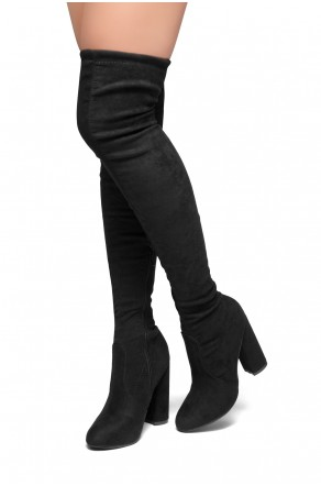 HerStyle Mayari-Almond toe, chunky heel, thigh high construction (Black)