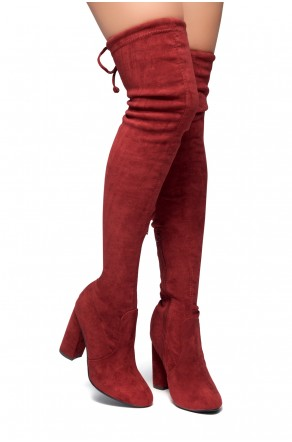 HerStyle Mayari-Almond toe, chunky heel, thigh high construction (Burgundy)