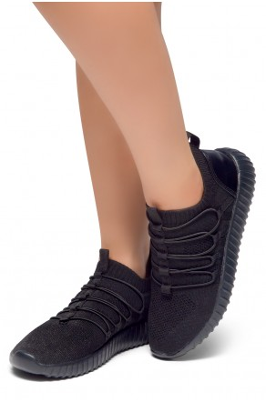2d97a7ab97 HerStyle MAZEE--Knit Fabric Fitted Slip-On Lace Decorative Vamp Sneakers  (Black