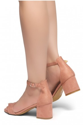 HerStyle Mazzorno an open toe, block heel,ankle strap with an adjustable buckle (Blush)