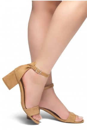 HerStyle Mazzorno an open toe, block heel,ankle strap with an adjustable buckle (Camel)