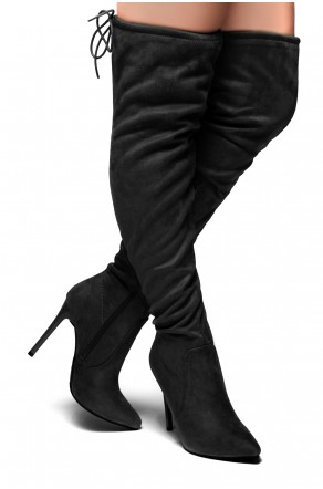 Women's Megann Faux Suede Over The Knee , thigh hi Pointy Toe Boots - Black