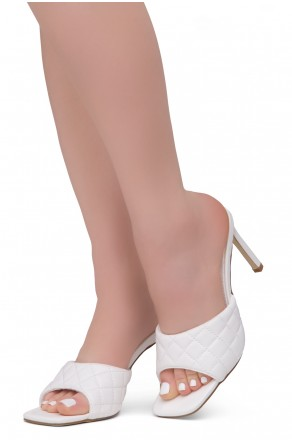 Shoe Land MELROSE Women's Square Open Toe High Heel Sandals Single Band Slip on Mules (White)
