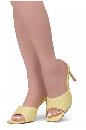 Shoe Land MELROSE Women's Square Open Toe High Heel Sandals Single Band Slip on Mules (Yellow)