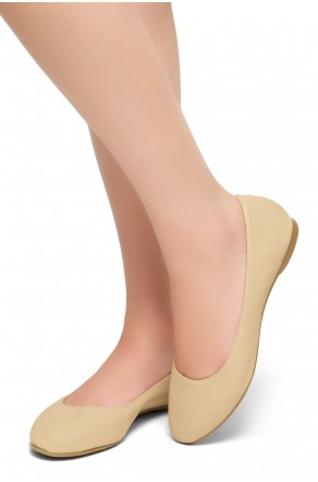 HerStyle Memory Forever -Round Toe, No detail, Ballet Flat (Nude)