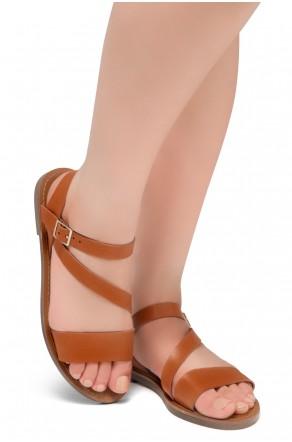 Shoe Land Kolea - Lightweight Flat Sandal with Faux Leather Straps Sandals (Cognac)