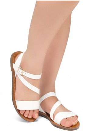 Shoe Land Kolea - Lightweight Flat Sandal with Faux Leather Straps Sandals (White)