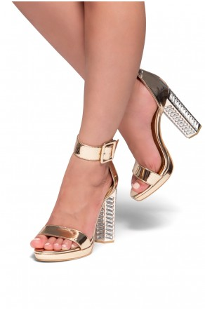 HerStyle Mikaela chunky heel with jewel embellishments (Rose Gold)