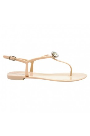 Women's Nude Minorca Jelly Sandal with Elegant Crystal Accent