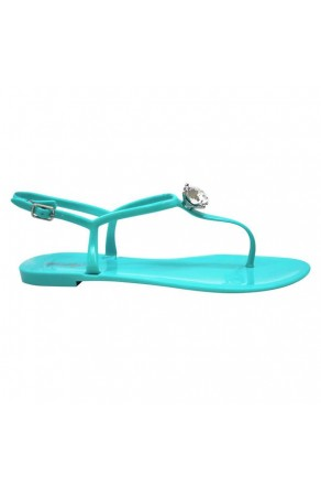Women's Teal Minorca Jelly Sandal with Elegant Crystal Accent