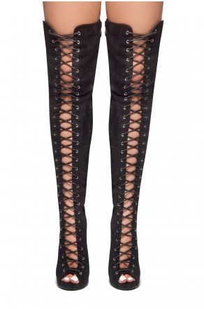 HerStyle Mirucia-Lace up, Peep toe, Stiletto heel, Thigh high boots (Black)
