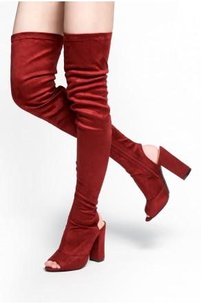 HerStyle Mprov a peep toe, thigh high construction, slim sock fit, rear cutout, chunky heel (Burgundy)