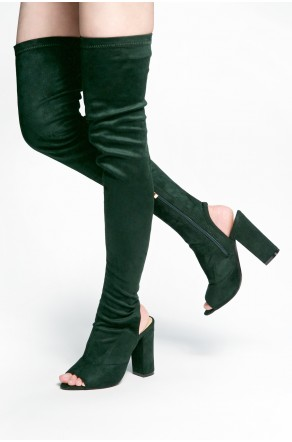 HerStyle Mprov a peep toe, thigh high construction, slim sock fit, rear cutout, chunky heel (Green)