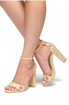 HerStyle Mukkai Embroidered Floral Suede Chunky Heel (Nude)