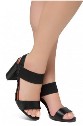 Shoe Land Mullyra-Women's Fashion Chunky Heels Elastic Ankle Strap Sandals (Black/Black)