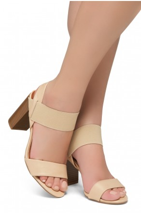 Shoe Land Mullyra-Women's Fashion Chunky Heels Elastic Ankle Strap Sandals (Nude/Nude)