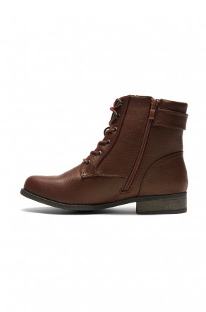 HerStyle Mylloo Combat Lug Booties, Lace up Buckled Ankle booties - burgundy
