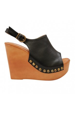 Women's Black Manmade Mystty 5-inch Wedge Sandal with Vintage Accents