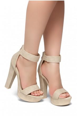 Shoe Land SL-Cutesy-Ankle Strap Chunky Platform Heel (Nude)