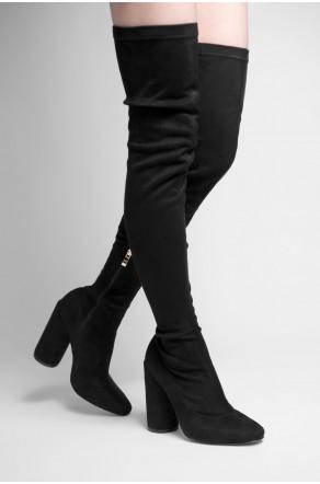 Women's Black Nakinna pointed toe, thigh high, Velvet, cylinder heel