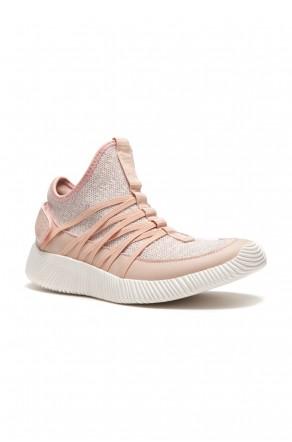 HerStyle Women's Manmade Nandra Flyknit Crisscross Elasticized Straps Sneaker -Pink