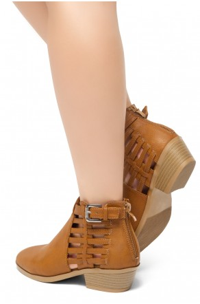 HerStyle Natania- Almond Toe Low Stacked Heel Casual Ankle Booties (Tan)