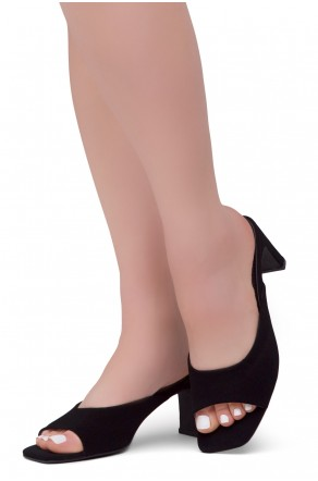 Shoe Land NATASSIA Slip-on Classic Daily Slides Square Toe Block Heeled Sandals(BlackNU)