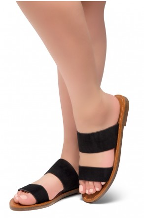 HerStyle Native- Open Toe Double Strap Vamp Open Back Easy Slide Sandals (Black)