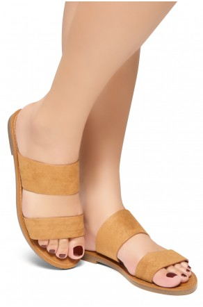 HerStyle Native- Open Toe Double Strap Vamp Open Back Easy Slide Sandals (Cognac)