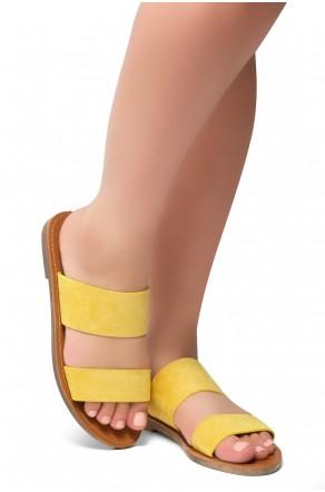 HerStyle Native- Open Toe Double Strap Vamp Open Back Easy Slide Sandals (Mustard)