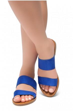 HerStyle Native- Open Toe Double Strap Vamp Open Back Easy Slide Sandals (RoyalBlue)