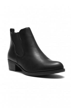 Herstyle Necter Women's Elastic Side Panel Block Heel Chelsea Ankle Boots - Black