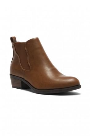 Herstyle Necter Women's Elastic Side Panel Block Heel Chelsea Ankle Boots - Brown