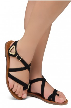 Shoe Land Needed-Women's Open Toe Flat Gladiator Sandals (Black)