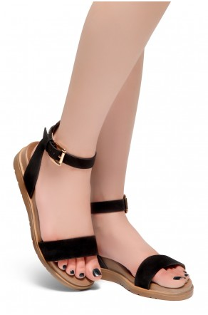 HerStyle Needed Me- Ankle Strap Flat Platform Sandal (Black)