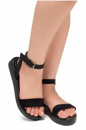HerStyle Needed Me- Ankle Strap Flat Platform Sandal (Black/Black)