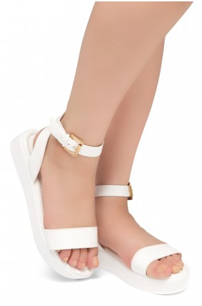HerStyle Needed Me- Ankle Strap Flat Platform Sandal (White/White)