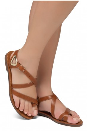 Shoe Land Needed-Women's Open Toe Flat Gladiator Sandals (Tan)