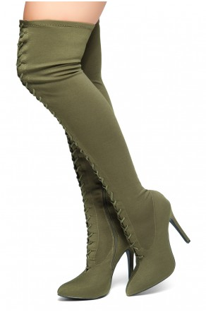 HerStyle Neely-Hi -Almond toe, stiletto heel, thigh high boots (Olive)