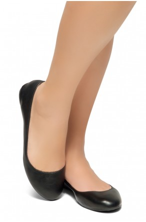 HerStyle New Memory-2 -Round Toe, No detail, Ballet Flat (Black)