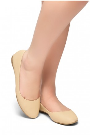 HerStyle New Memory-Round Toe, No detail, Ballet Flat (Nude)