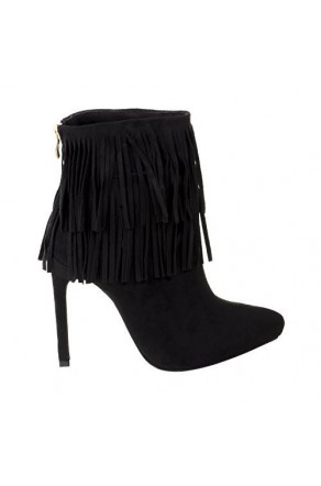 Women's Black Manmade Newpport 4.5-inch Heeled Bootie with Double Layer of Fringe