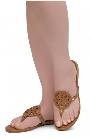 Shoe Land Nickle Women's Easy Slip-on Casual Thong Sandals Flat Shoes (Cognac)