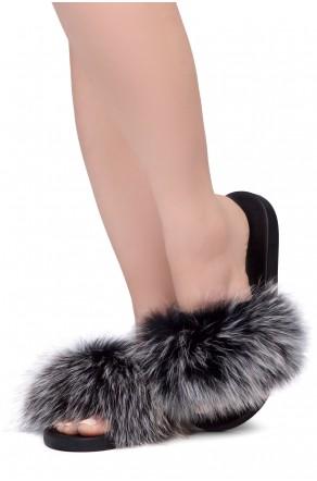 Shoe Land NIKINI Womens Fur Slides Fuzzy Slippers Fashion Fluffy Comfort Flat Sandals(1921BlackMulti)