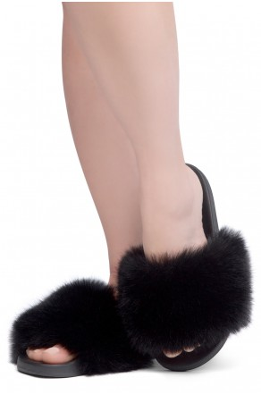 Shoe Land NIKINI Womens Fur Slides Fuzzy Slippers Fashion Fluffy Comfort Flat Sandals(2020 BLK/BLK)