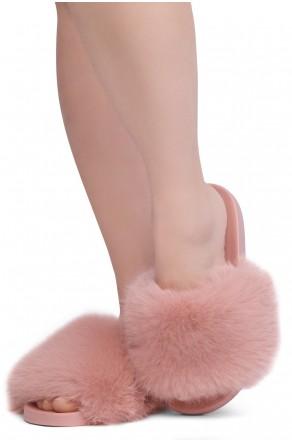 Shoe Land NIKINI Womens Fur Slides Fuzzy Slippers Fashion Fluffy Comfort Flat Sandals(2020 Mauve/Mauve)