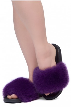 Shoe Land NIKINI Womens Fur Slides Fuzzy Slippers Fashion Fluffy Comfort Flat Sandals(2020 Purple/Black)