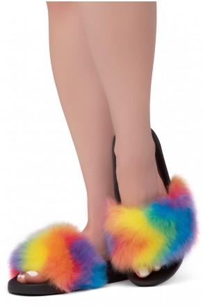 Shoe Land NIKINI Womens Fur Slides Fuzzy Slippers Fashion Fluffy Comfort Flat Sandals(2020 RainbowMulti)