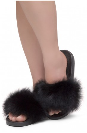Shoe Land NIKINI Womens Fur Slides Fuzzy Slippers Fashion Fluffy Comfort Flat Sandals(BLK/BLK)