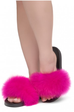 Shoe Land NIKINI Womens Fur Slides Fuzzy Slippers Fashion Fluffy Comfort Flat Sandals(FUSH/BLK)